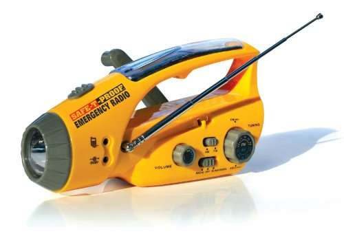 Safe-T-Proof Solar, Hand-Crank Emergency Radio, Flashlight, Beacon, Cell Phone Charger