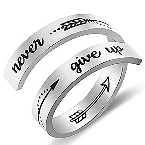 Gleamart Inspirational Ring Stainless Steel Engraved Keep Going Ring Gift...