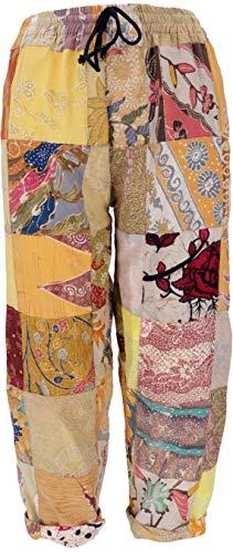 GURU SHOP Patchwork Hose Bali - Mango, Damen, Gelb, Baumwolle, Size:L, Pluderhosen & Aladinhosen Alternative Bekleidung