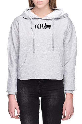 Evolutie Trekker Dames Crop Capuchon Sweatshirt Grijs Women's Crop Hoodie Sweatshirt Grey