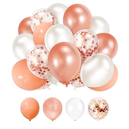 SKYIOL Helium Luftballons Rosegold Weiß Rosa 50 Stück 30cm Latex Konfetti Ballons Deko Set mit 10m Band für Mädchen Frauen Geburtstag Hochzeit Baby Shower Jubiläum Party Dekoration
