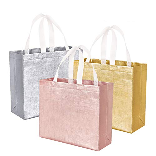 12 PCS Glossy Reusable Grocery Bags Shopping Tote Bags with Handle, Bridesmaids Bags Gift Bags...
