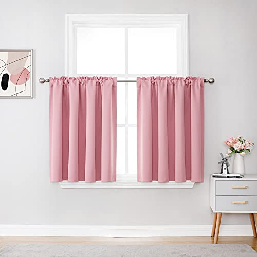 Blush Pink Short Curtains 36 Inches Long for Loft 2 Panels Room Darkening Rod Pocket Cafe Tiers Curtains Bathroom Small Windows Pink Blackout Curtains for Nursery Living Room 52 X 36 Inch Length