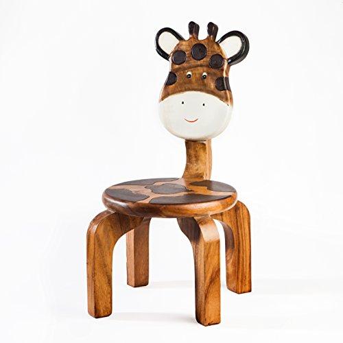 Robuuste kinderstoel. Stoel massief van hout voor kinderen met dierenmotief giraffe, 25 cm zithoogte
