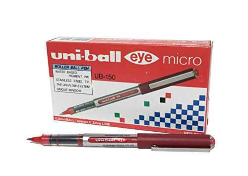 Uni-Ball 9000502 Eye Tintenroller Mikro 0,5 mm Spitze 0,2 mm Strichbreite 12 Stück rot