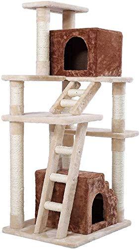 FTFDTMY Große Katzenkratzbrett, Katzenhaus Katze Vergnügungspark einteiliges Katze Klettergerüst Balkon Katzenturm Katze Villa (Größe: 49 * 60 * 148 cm)