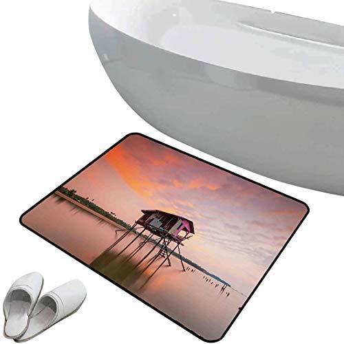 Tapis de salle de bain antidérapant Rustique bain doux Célibataire au coucher du soleil après une inondation éclair dans un village asiatique de Malaisie,dans plusieurs Pour douche paillasson chambre