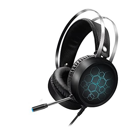 Auriculares de Juego con micrófono Auriculares sobre Oreja con luz LED Cancelación de Ruido 7.1 Sonido Envolvente estéreo Ligero para PS4 PS5 Xbox One PC portátil,3.5mm Long Mic