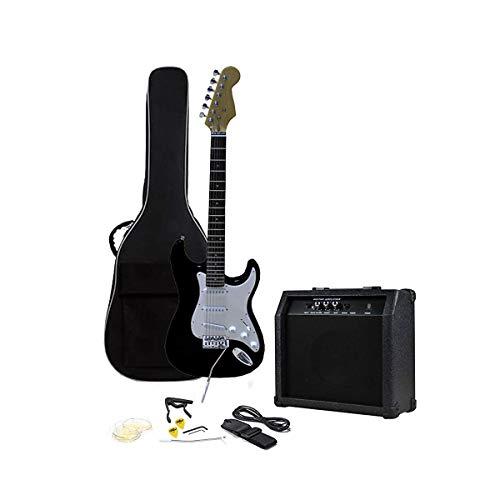 Dimensioni RockJam completa chitarra elettrica Superkit con la chitarra amplificatore, chitarra Strings, Guitar Tuner, cinghia, Custodia per chitarra e via cavo - nero