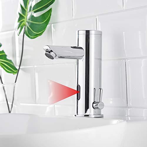 AIMADI Infrarot Sensor Wasserhahn Automatisch Mischbatterie Induktion Badarmatur Waschtisharmatur Handwaschbecken Batteriebetrieb Chrom