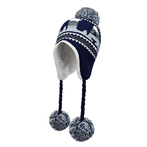 Football Pom Winter Hat with Matching Plush Classic Sports Teams and Cities Ultra Soft Warmth and Outdoor SE101 (Dallas)