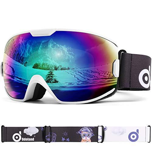 Odoland Gafas de Esquí para Niños de 8-16 años, Gafas de Snowboard para Niños y Niñas con Protección UV400 y Antiniebla, Lente de Doble Capa y Diseño OTG, Blanco y Verde VLT18%