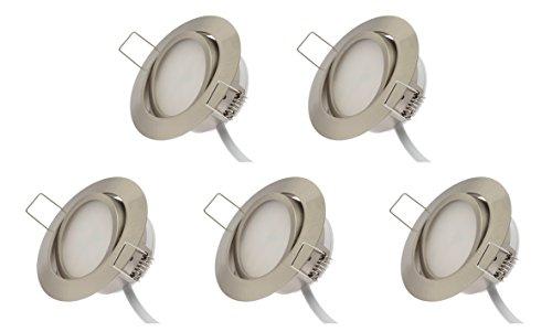 Rolux LED Einbaustrahler 5er Set matt-chrom 5W 230V 3000K schwenkbar Ultra Flach