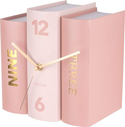 Karlsson KA5730 Horloge à poser Trompe-l'oeil Livres Book Rose Carton rigide et métal H20 x 20 x 15 cm