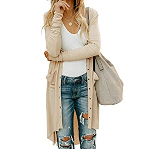 Women's Snap Button Down Pocketed Open Front Long Knitted Cardigan Ou...