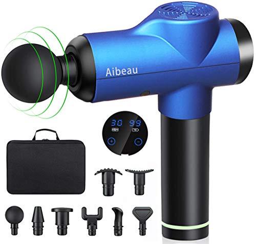Massagepistole, Aibeau Massage Gun für Nacken Schulter Rücken Muskel Massagegerät Elektronische Mit 8 Massageköpfen und 30 Geschwindigkeiten Vibrationsgerät