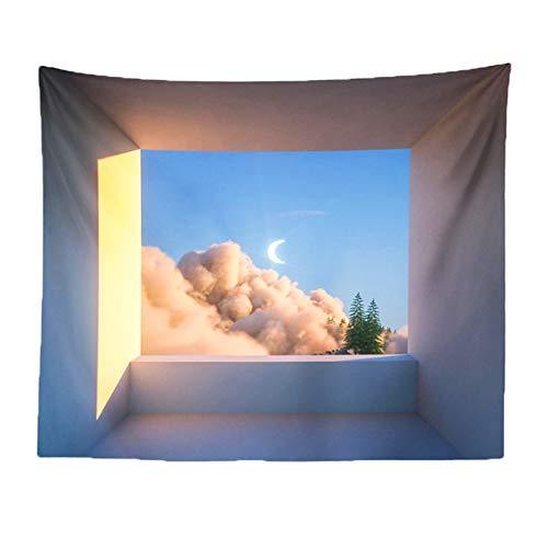 SHIFWE lindo tapiz de dibujos animados dormitorio niña habitación de noche colgante tela tatami kawaii encaje tapiz paisaje retro muñeca mapa colgante tela