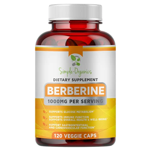 Simple-Organics Berberine 500mg (1000mg Per Serving) - 120 Capsules- Supports Glucose Metabolism, Healthy Immune Function, Gastrointestinal & Cardiovascular Support