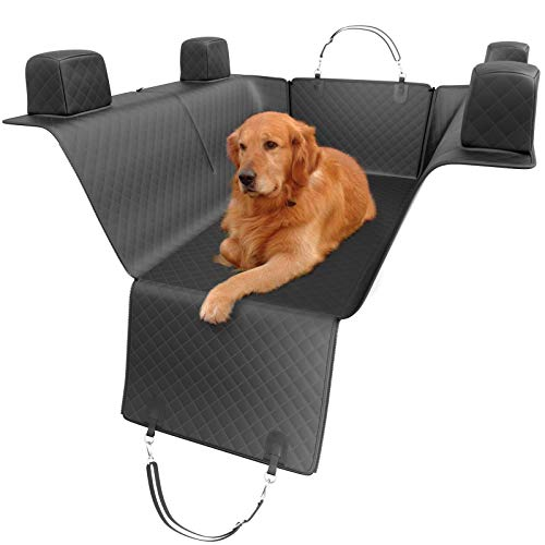 5 STARS UNITED Dog Back Seat Cover Protector - Black Waterproof ScratchProof Non-Slip Durable Hammock, Backseat & Head Restraints Protection Against Dirt & Pet Fur, Convertible Accessories (X-Large)