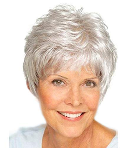 Royalfirst Old Middle Age Women Short Silver Wig Grey Synthetic Fiber Hair Wigs for Mother Grandmother Grandma Queen with Comfort Breathable Cap
