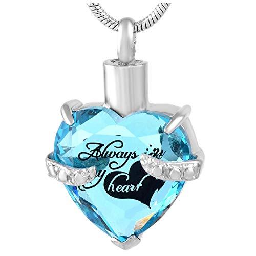 Wxcvz Colgante Conmemorativo Diseño Siempre En Mi Corazón Collar con Colgante De Urna De Cremación Joyería De Recuerdo Conmemorativa para Cenizas