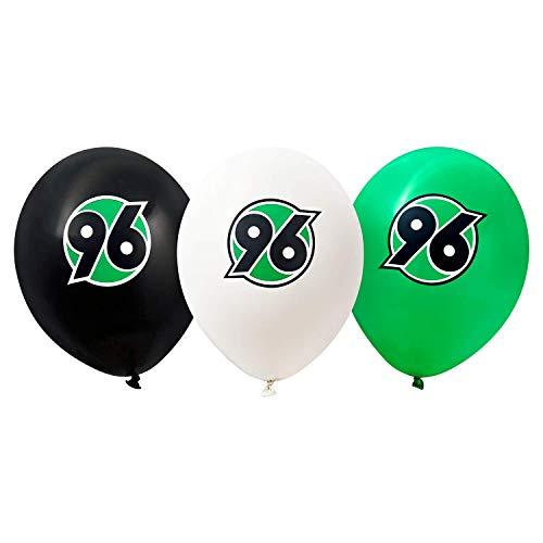 Hannover 96 Luftballons 9er-Set, Ballon schwarz-weiß-grün Logo H96 - Plus Lesezeichen I Love Hannover