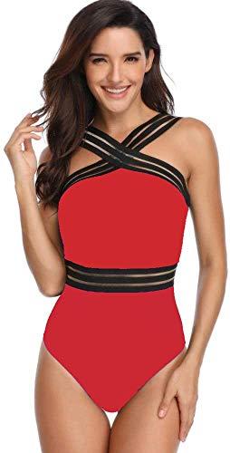 Ducomi LEA - Traje de baño de una pieza para mujer, con bandas entrelazadas y transparencias sexy en la cintura, parte superior con copa Push Up extraíble, para playa y piscina rojo XL