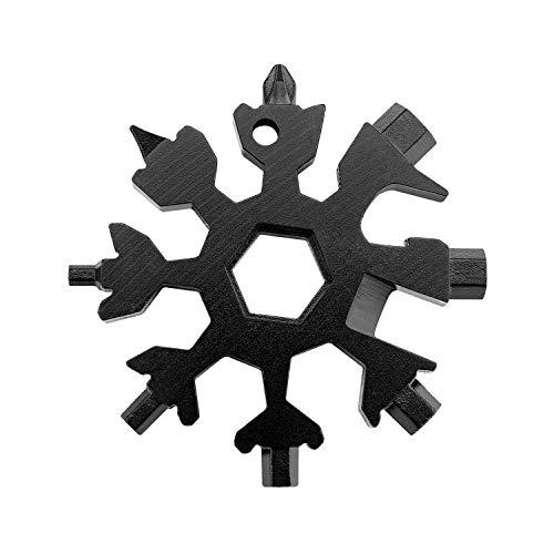 Edelstahl-Multifunktionswerkzeug, 18-in-1-Schneeflocken-Multitool-Karte, tragbarer Fahrrad-Multifunktions-Schraubenschlüssel für Flaschenöffner (Schwarz)