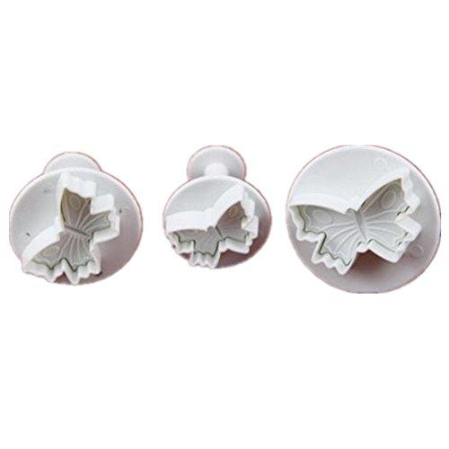 Allforhome PME Lot de 3pcs Papillon de coupeur de plongeur Moules à piston pour décoration de gâteau de fondant outil de gaufrage