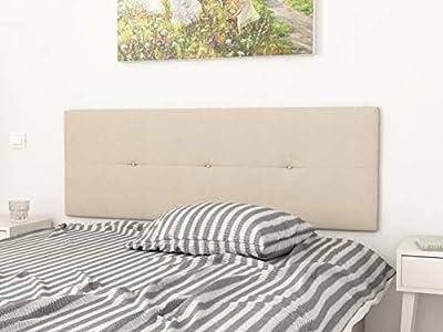Estructura: Tablero de madera contrachapada Tapizados: Textil poliester y acolchado en microfibra Sistema de fijación: Herrajes para colgar con regulador de altura (incluido) Grosor: 4 cms Color: Beige