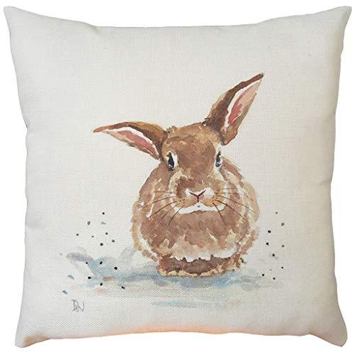 Moent Funda de almohada de Pascua, cuadrada de algodón y lino para sofá, cama, cafetería, coche, decoración del hogar, diseño de conejo, regalo de festival (F-1 unidad)