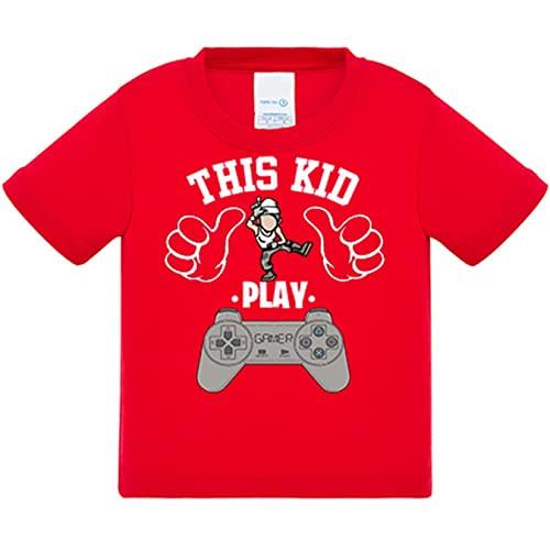 Camiseta bebé frase este chico gamer vicia al videojuego de la pose Take L Dab Floss This kid play - Rojo, 2 años