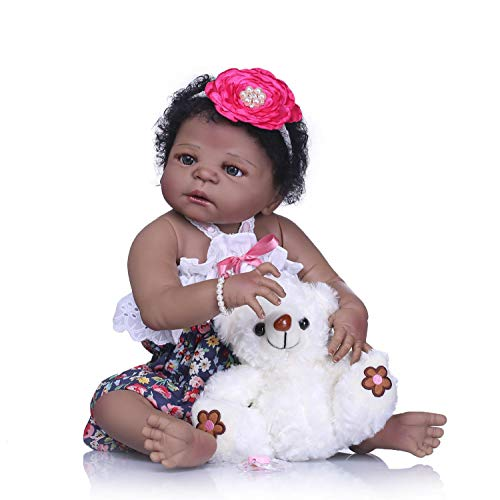 TERABITHIA 22 inch Cute African American Reborn Baby Doll,Little Bear Girl Doll Crafted in Silicone-Like Vinyl Full Body (African American Silicone Reborn Babies For Sale)