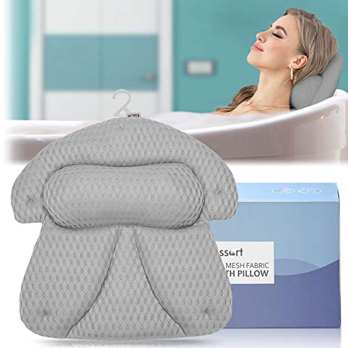 Essort Badewannenkissen,Komfort Kissen Badewanne mit 5 Saugnäpfen 4D Mesh Technologie Nackenkissen Badewanne Kopfkissen für Badewannen und Home Spa Grau