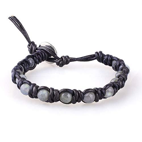 KELITCH Neue Labradorit Perlen Strang Armband Handamade Handwoven Achat Wrap Armband Armreif (Schwarz 67)