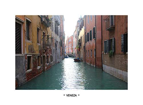 QUADRO C/VIDRO - ITALIA - VENEZA (MOLDURA BRANCA, IMAGEM COLORIDA)