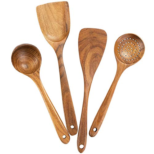 Lopbinte Wooden Cooking Utensils,Wooden Spoons for Cooking,Wooden Spoons for Nonstick Cookware,Organic Teak Wood Kitchen Utensil with Spatula