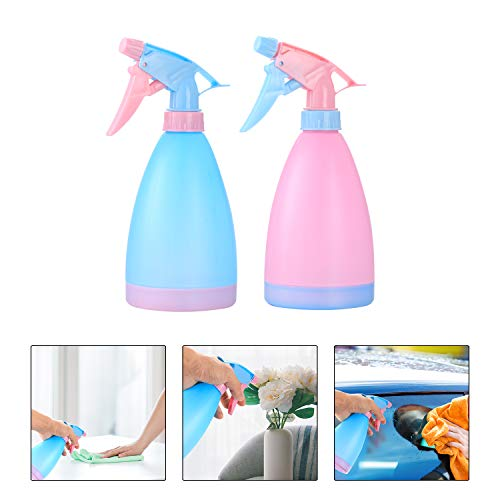 Atomizador Agua de 500 ml, Botellas de Pulverización, Botellas de Agua de Plástico Vacías, Botella Spray Pulverizador Presion para Plantas, Jardin - 2 Pcs/Rosado, Azul