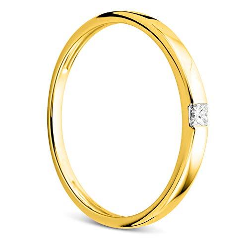 Orovi Damen Ring Gelbgold 0.06 Ct Solitär Diamant Verlobungsring 18 Karat (750) Gold und Diamant Brillant