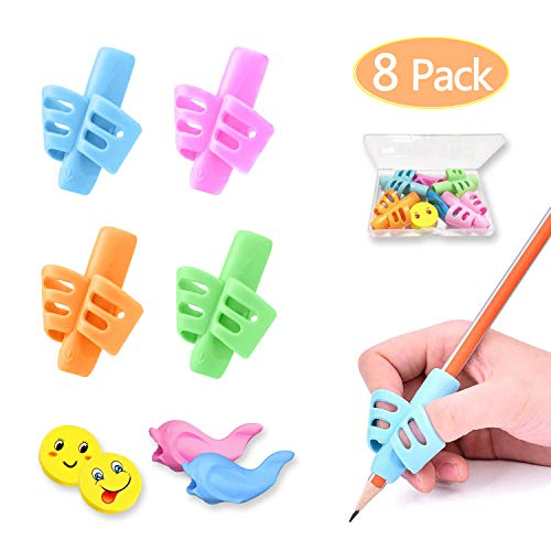 Pencil Grips, Pencil Grips for Kids Handwriting, HAWOWZ Writing Aid Gripper Trainer, Finger Grip...