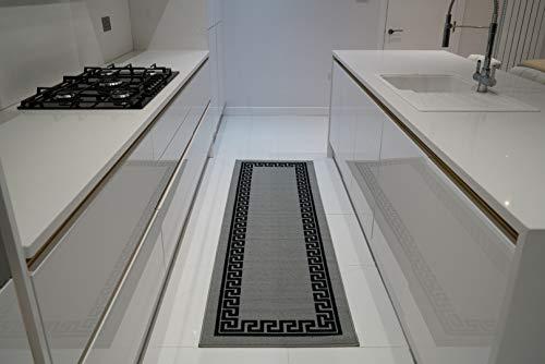 Machinewasbare Griekse sleutel, driehoek diamant ontwerpen Hall runner trap loper - Hallway-passage gang keuken antislip tapijten matten (grijs zwart, 80 x 150 cm (2 '15,2 cm X5'0))
