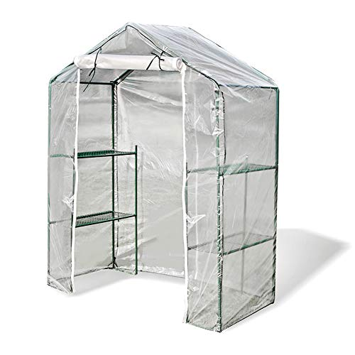 LIANGLIANG Greenhouse Growhouse Walk-in Garden Plant Flower House Heat Cover Windproof Rainproof Transparent Plastic (Couleur : Clair, Taille : 140x70x195cm)