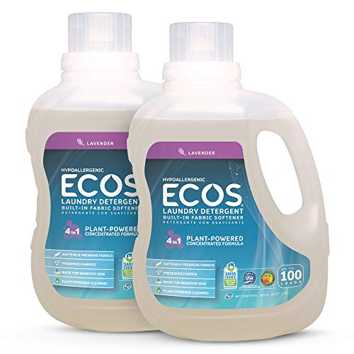 Earth Friendly Products ECOS 2X Hypoallergenic Liquid Laundry Detergent, Lavender, 200 Loads,100 Fl Oz (Pack of 2)