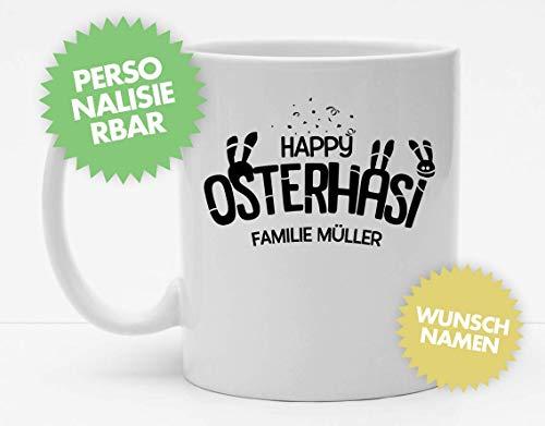 Tasse | Happy Osterhasi mit Namen | Ostern | Kleines Ostergeschenk | Personalisierte Tasse | Kaffeetasse | Persönliche Ostertasse | Hasen