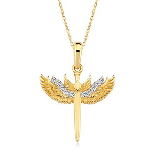 Damen Halskette 14 Karat - 585 Gelbgold mit Schutz-Engel Saint Michael als Anhänger, Kette 45cm Valentinstag Geschenk