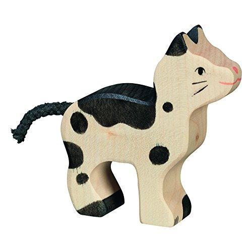 Holztiger 80540 - Spielfigur - Katze, klein, schwarz/weiß