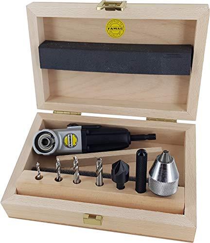 FAMAG 1598 Winkelschraubvorrichtung 90fix, Set Kompakt Holz mit Winkelschraubvorrichtung, Holzspiralb.-Bits Ø 3, 4, 5, 6 mm, Senker & Bohrfutter - 1598.757