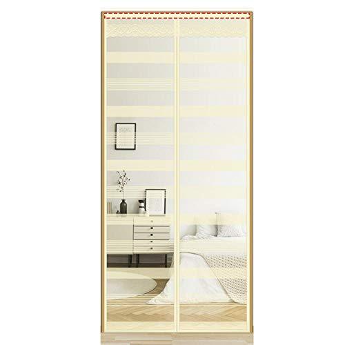 Creme Farben Fliegengitter Pendeltür 100x220cm / 39x86inches Mückennetz Dachfenster für Fensterpflege Und Heimdekoration,Ohne Bohren
