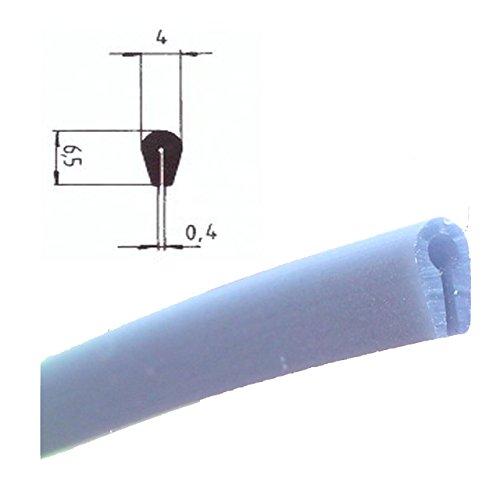Eutras protection de bord KSO4004 - Bande de protection pour les bords avec 0,4-1,5 mm, noir, 3 m, argent, 2046
