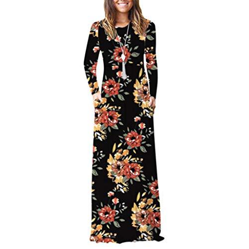 XIALIUXIA Blumenmuster Damen Maxikleid, Langarm Tshirt Kleid Rundhals Winterkleid Für Damen Brautkleid Maxikleid,H,M